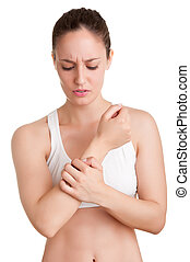 Arm Pain - Female with pain in her forearm, isolated in a...