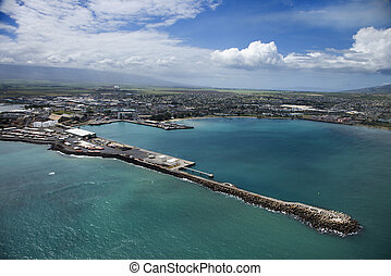Hawaiian port - Aerial view of container port on Maui,...