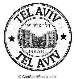 Tel Aviv stamp - Black grunge rubber stamp with the name of...