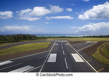Airport runway - Aerial view of airport runway on coastline...