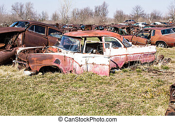 Auto Junk Yard - A whole field of junk cars just sitting...