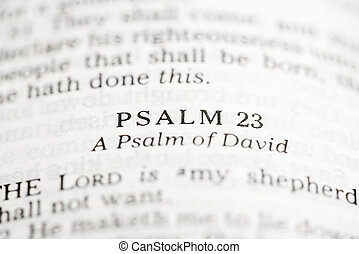 Psalm of David. - Selective focus of Psalm verses in open...