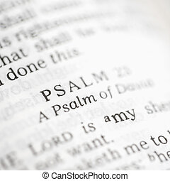 Psalm 23 - Selective focus of Psalm verses in open Holy...
