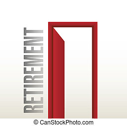 retirement door open illustration design