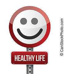 healthy life road sign illustration design