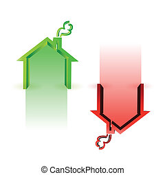 house market up and down illustration design