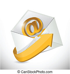 envelope email. contact us illustration design over a white...
