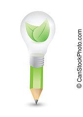 pencil lightbulb and leaves illustration design over white