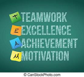 teamwork educational concept illustration design over a...