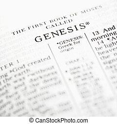 Genesis in Bible. - Selective focus of Genesis verses in...