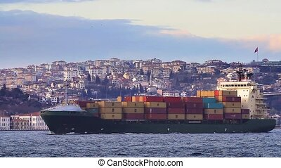 Container Transportation. - Cargo ship full of containers...