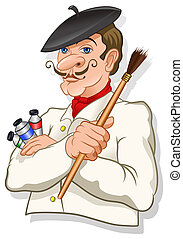 Artist Painter - French inspired artist with a brush and...