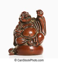 Blessing Buddha. - Happy laughing Buddha figurine with hand...
