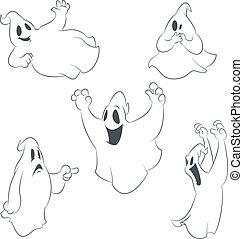 Collecion of icons with ghosts - Vector image of collecion...