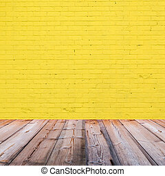 room interior with yellow brick wall  background