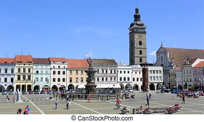 Square in the historic center of Czech Budejovice.
