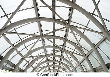 Steel roof structure, entrance to department stores,...