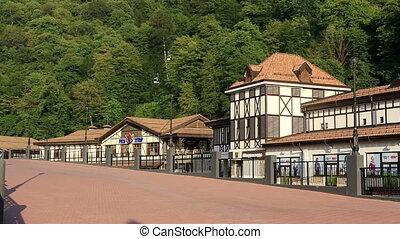 Rosa Khutor Alpine Resort in Krasnaya Polyana. Sochi....
