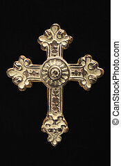 Religious cross - Ornamental religious cross against black...