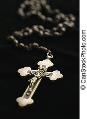 Catholic rosary - Christian rosary beads with crucifix on...