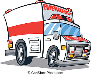 Ambulance - Cartoon illustrated ambulance emergency vehicle