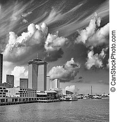 New Orleans. Mississippi River at sunset with city skyline