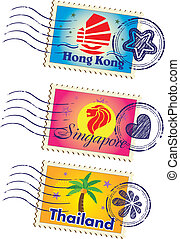 Stamp - Asia country stamp icon set