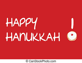 Red Card with Donut for Hanukkah - Vector Illustration of...