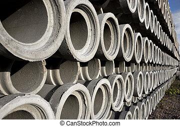 pila, concreto, drenaggio, tubi per condutture