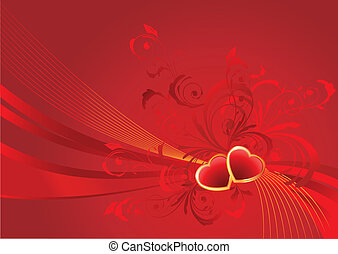 Red valentine background with floral pattern and hearts