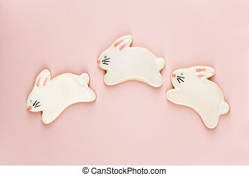 Bunny sugar cookies. - Three bunny shaped sugar cookies with...