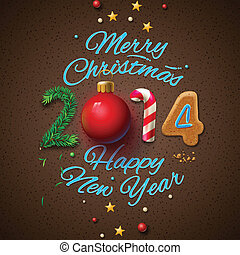 Happy New Year 2014 Greeting Card, vector Eps10 illustration...