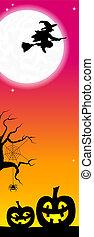 jack o lanterns in a full moon night - vector illustration...