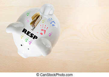 Canadian RESP savings concept - Canadian $100 dollar bill,...