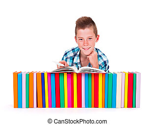 Studying boy - Happy teen boy with lot of colorful books in...