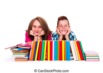 Friends Together - Happy teenage boy and girl with lot of...