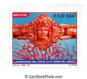 Italian stamps crafts Coral Tower of the Greek