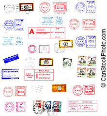 postmarks, labels, post stamps background