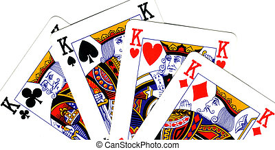 playing cards; poker of king