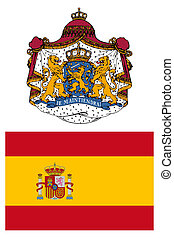 Spain, flag and coat of arms