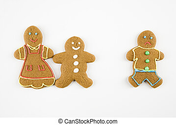 Gingerbread cookies. - Frowning male gingerbread cookie...