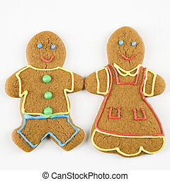 Gingerbread couple. - Male and female gingerbread cookies...