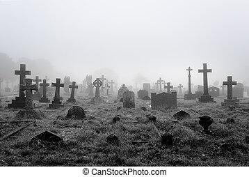 nebuloso, cemitério, fundo