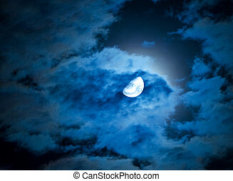 moon and clouds in a night sky