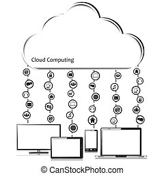 Vector Cloud computing concept