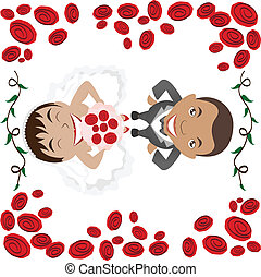 wedding invitation - illustration of kissing couple on...