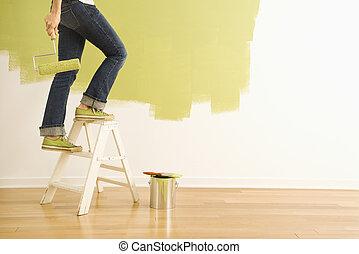Woman painter on ladder. - Legs of woman climbing stepladder...