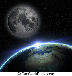 Earth and moon in outer space with stars