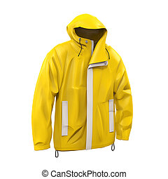 Yellow Rain Coat isolated on white background. 3D render