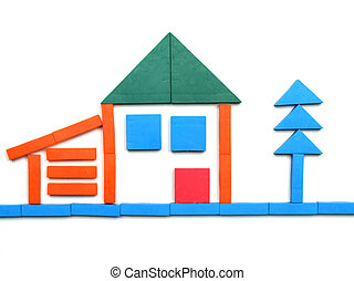 Toys - Tangram game toy with detached house